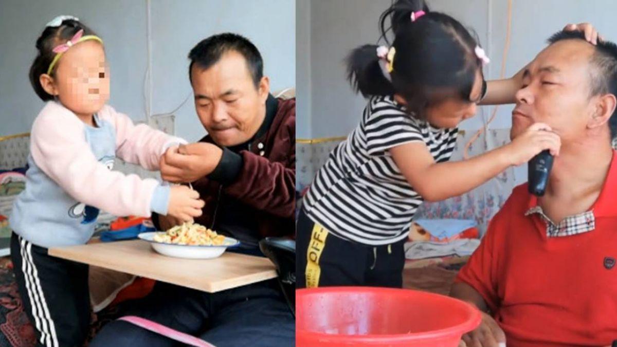 【影】母離家!6歲女童直播餵癱瘓父吃飯 竄升「網紅」猛獲打賞