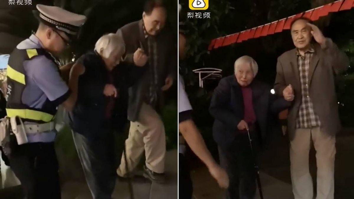【影】82歲嬤散步失蹤 老伴淚求助警…一找到緊牽手泣:不要跑嘛
