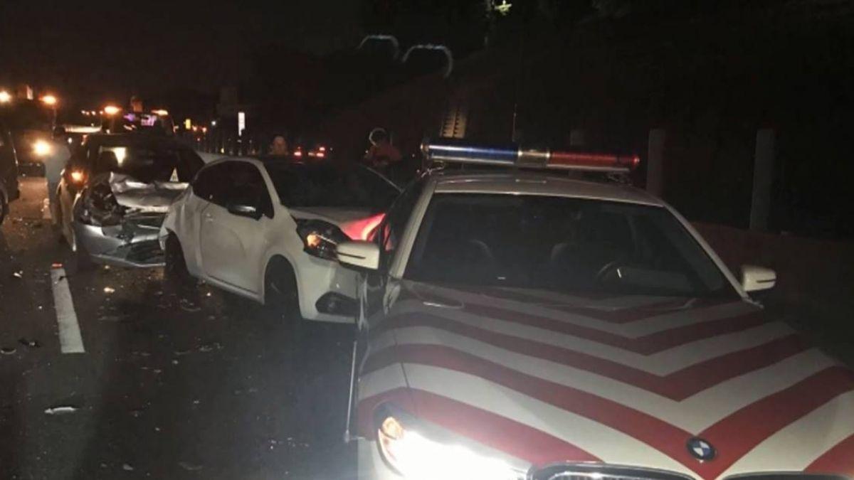國道9車連環撞7傷 警車遭撞警受傷