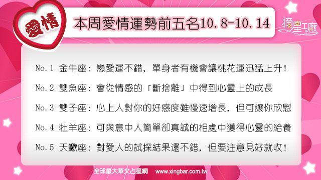12星座本周愛情吉日吉時(10.8-10.14)