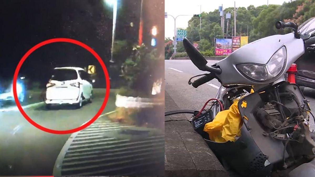 超惡劣!轎車闖紅燈猛撞機車肇逃 熱心民眾追3公里逮人