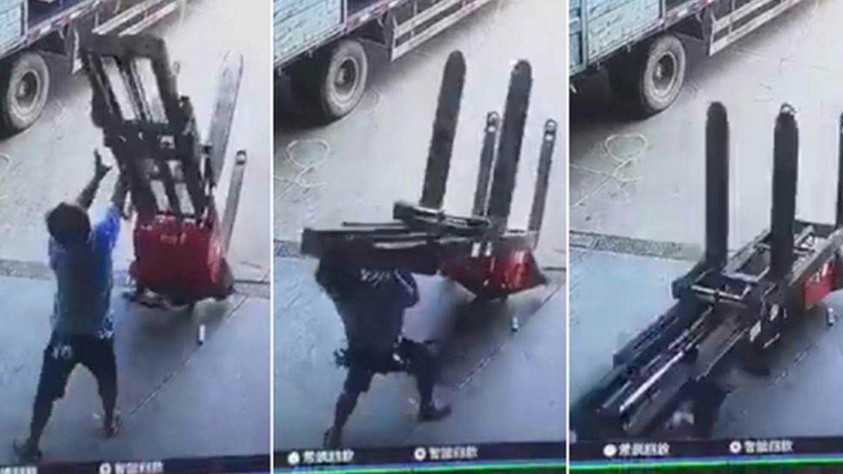 【恐怖爆頭片】工人少做這一步 被堆高機砸扁噴血慘死