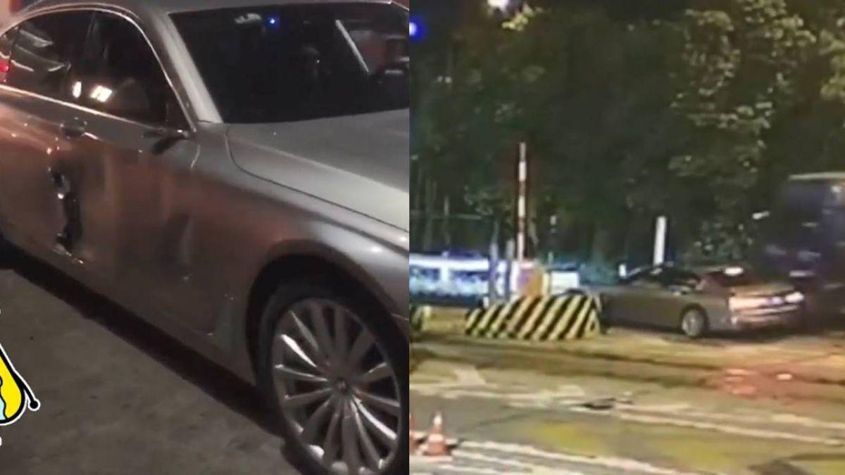 【影】BMW搶車道硬擠大卡車!車門炸爛…一秒慘賠20萬