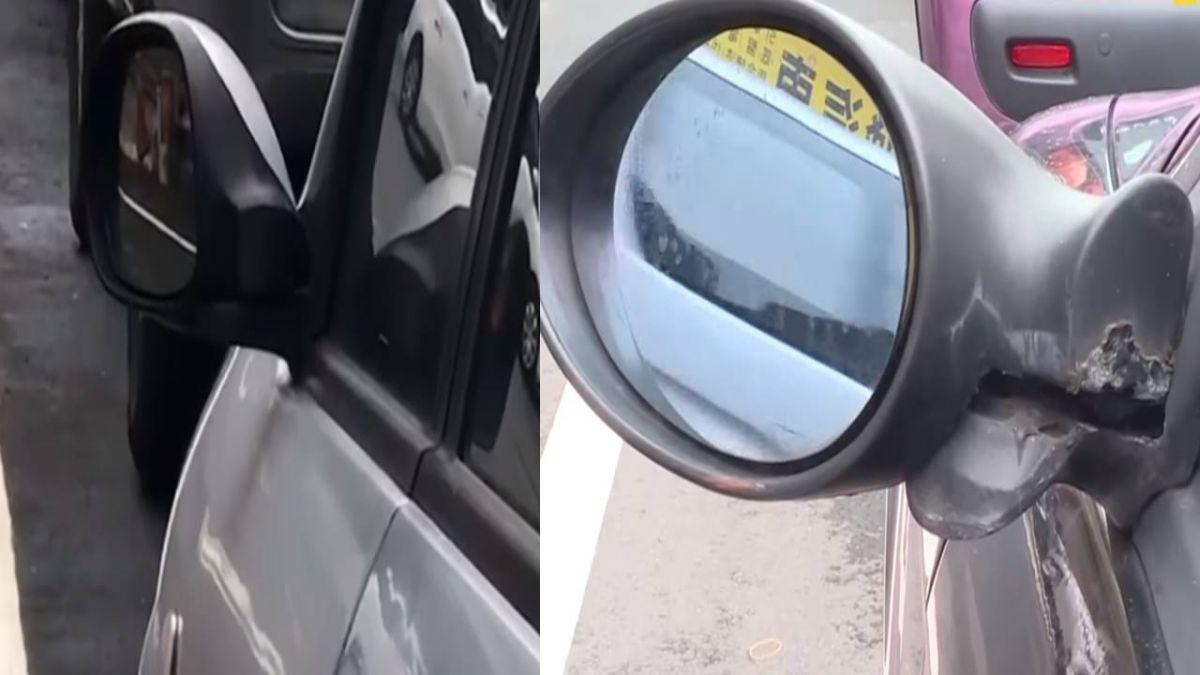 男沿途折後照鏡 路邊200公尺車輛全遭殃