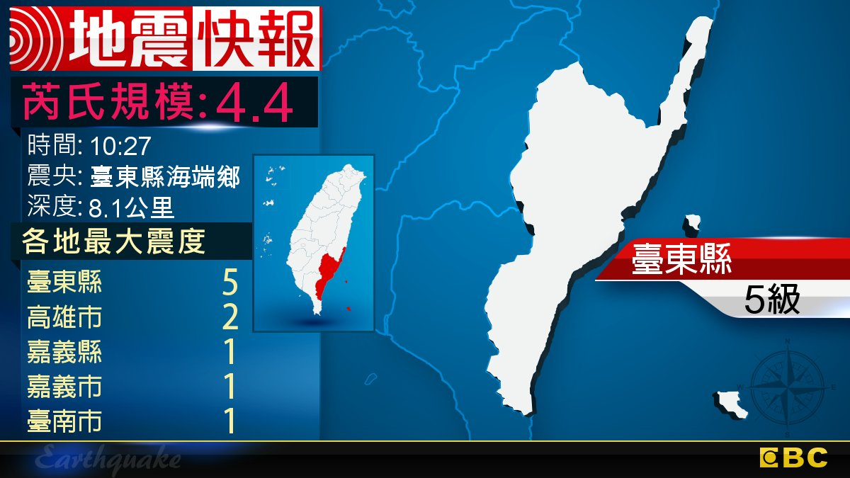 地牛翻身!10:27 臺東發生規模4.4地震