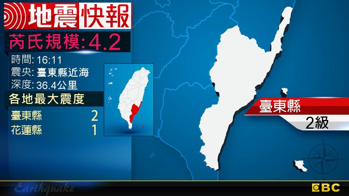 地牛晃動!16:11 臺東發生規模4.2地震